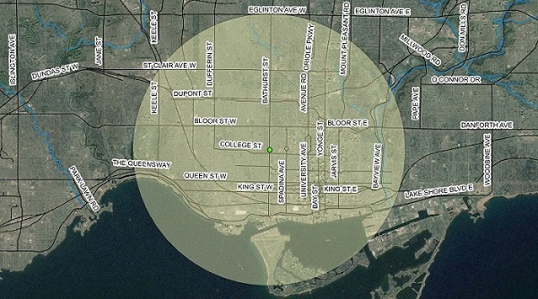 The extent of the Mantle and neighbouring village's maize crops, as indicated by the transparent yellow circle, with the centre point placed at the ASI headquarters at Bathurst St. and College St. in downtown Toronto.