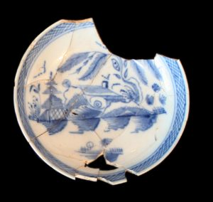 Chinoiserie blue and white hand painted saucer- historical ceramic reference 19th century archaeology