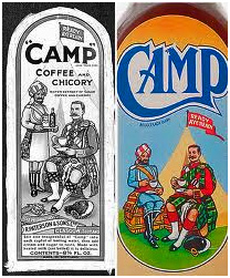 The original Camp Coffee label (left), with the new, edited version (right).