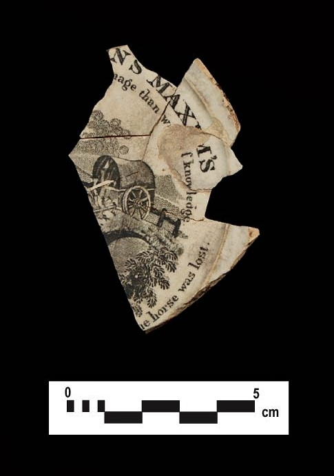 ABC ware: Franklin proverb plate fragment.