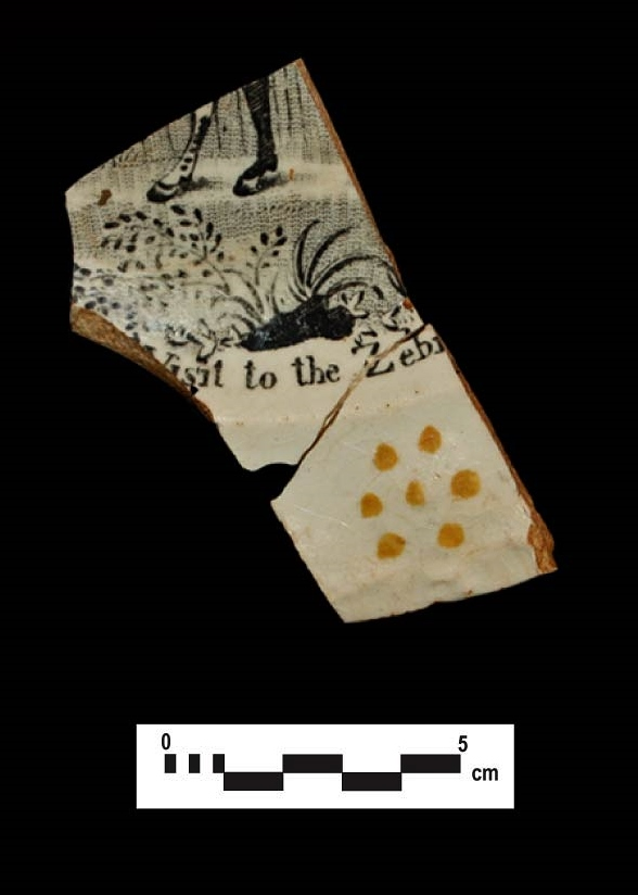 """ABC ware: """"A Visit to the Zebra"""" plate fragment."""