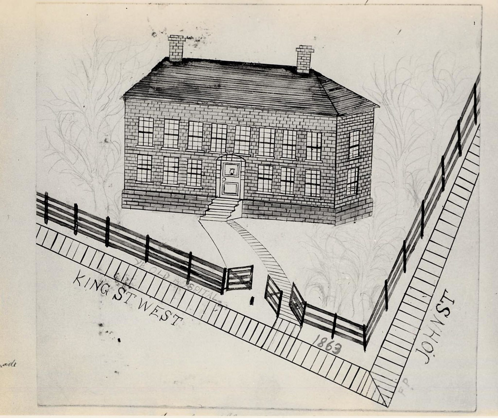 Historical drawing of the original Toronto General Hospital building.