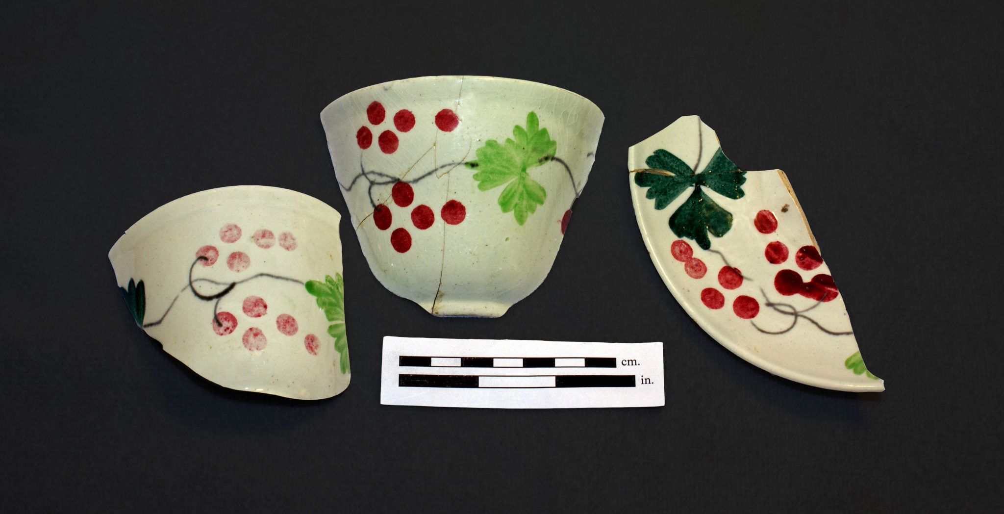 Hand-painted teaware from the O'Connor site in Brampton.