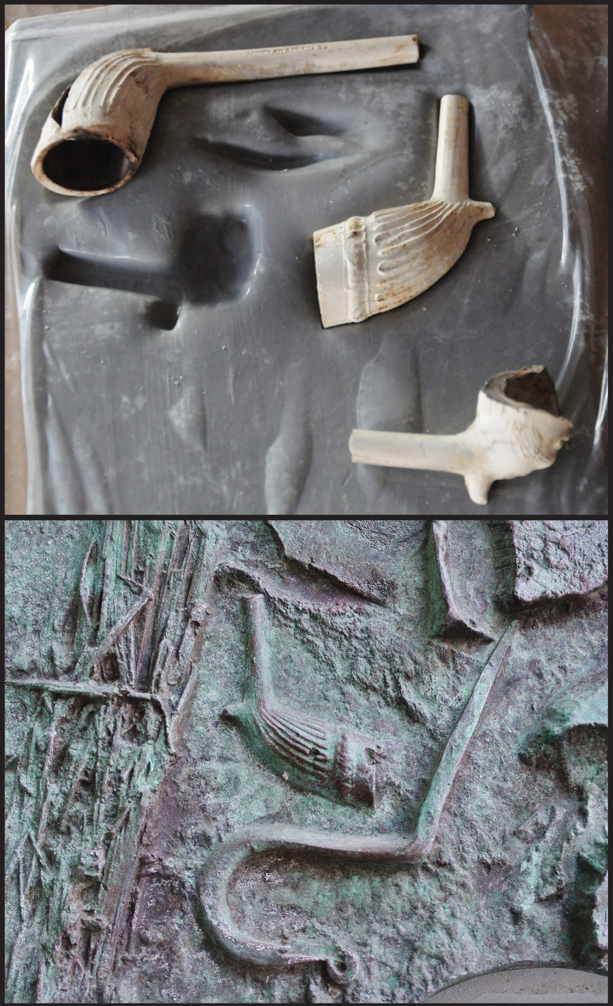 """A before and after image of Toronto General Hospital site pipe bowls and their impressions in the """"archaeological crust."""""""
