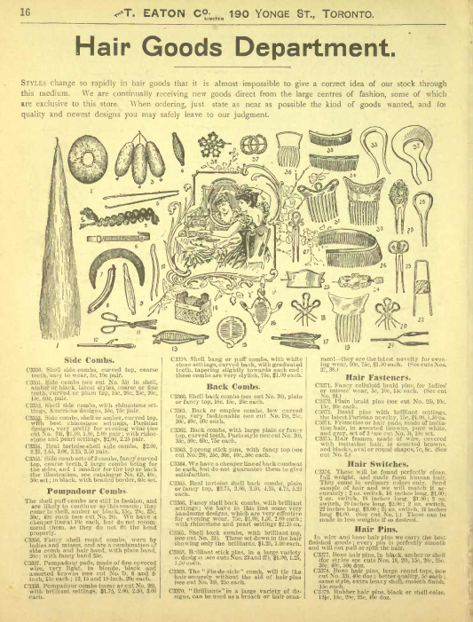 Hair Goods from the 1899-1900 Autumn Winter Eaton's Catalog, Source: The Toronto Public Library