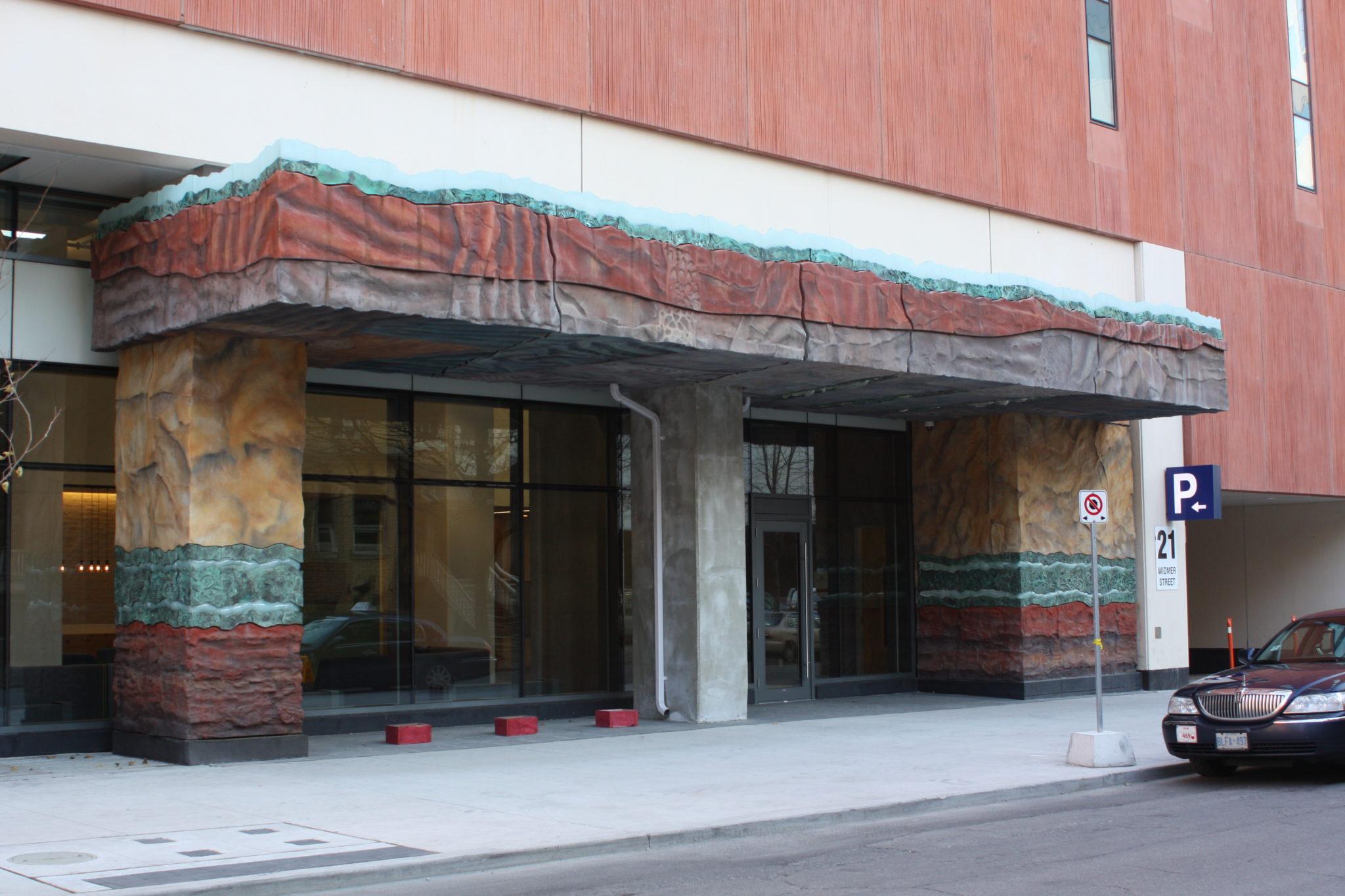 """Strata"" entranceway to the Cinema Tower."