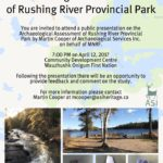 Senior Associate Martin Cooper invites you to a public session on the Archaeological Assessment of Rushing River Provincial Park
