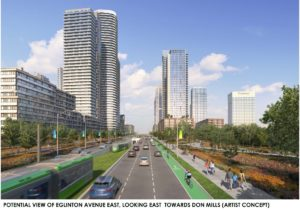 Potential view of Eglinton Avenue East looking East towards Don Mills, Artist Concept (City of Toronto)