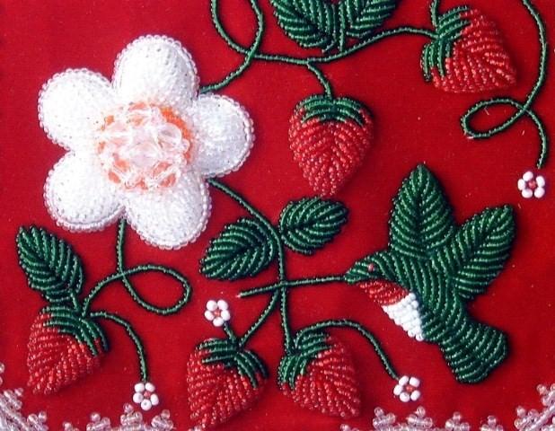 Strawberry beaded motif by artist Samuel Thomas
